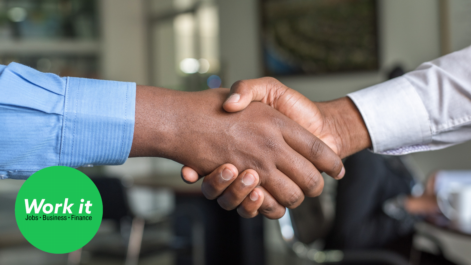 A handshake between two hands; a green logo with the words Work It, Jobs, Business, Finance.
